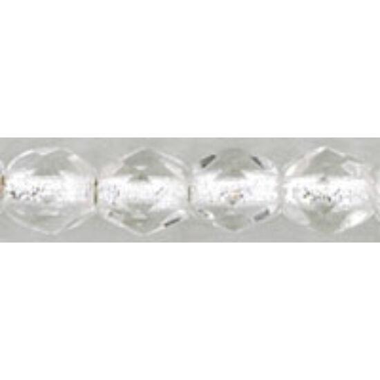 4mm Ezüst közepű Kristály, Cseh csiszolt gyöngy