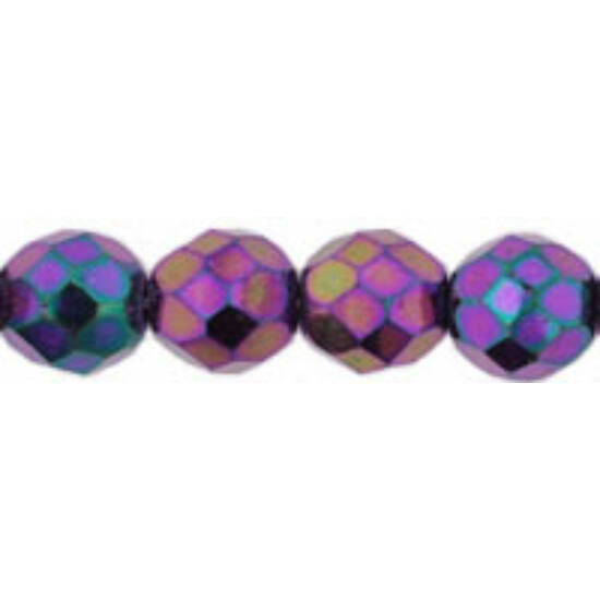 8mm Irish. Purple színű, cseh csiszolt gyöngy