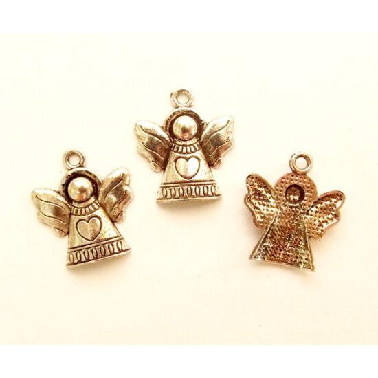 Angyal alakú, antik ezüst színű, medál