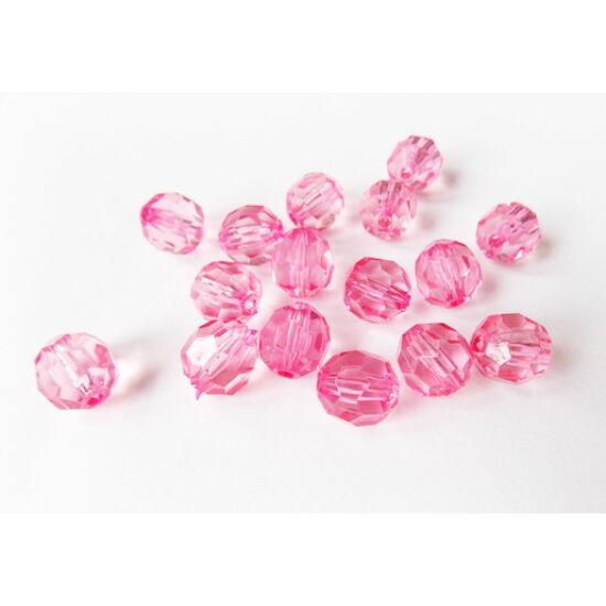 16mm Rózsaszín áttetsző, csiszolt felületű, műanyag gyöngy