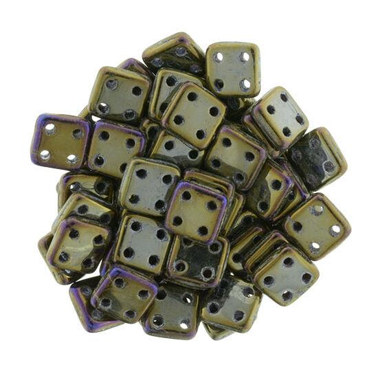 6x6mm Irizáló Bronz színű Quadra Tile gyöngy
