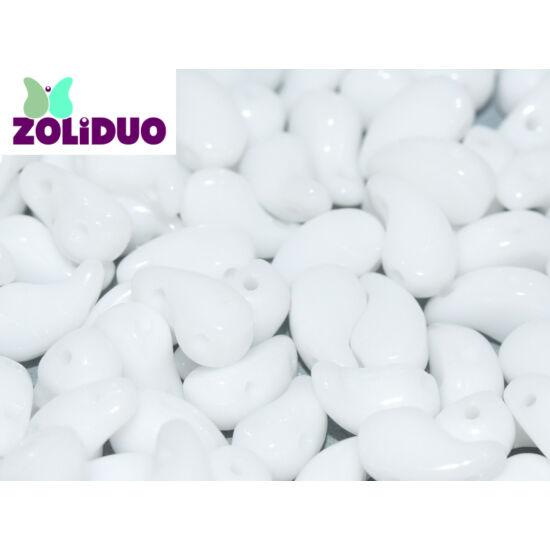 ZOLiDUO- Cseh préselt 2lyukú gyöngy - CHALK WHITE - 5x8mm - JOBBOS - 03000