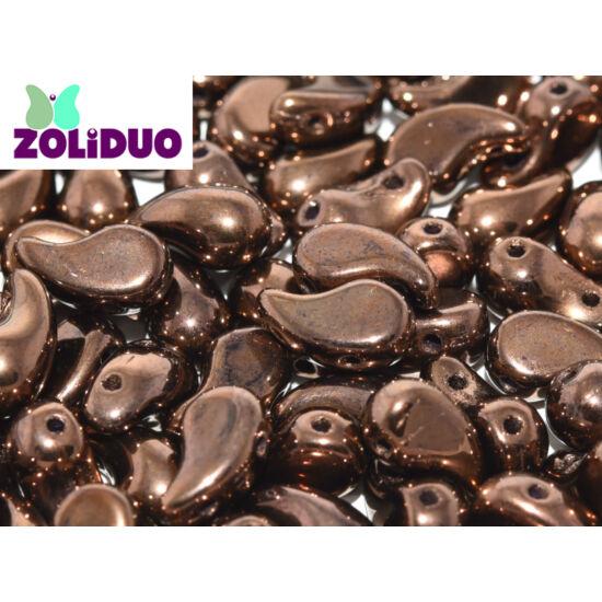 ZOLiDUO- Cseh préselt 2lyukú gyöngy - Jet Bronze - 5x8mm - JOBBOS - 14415