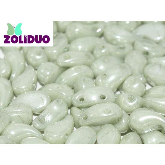 ZOLiDUO- Cseh préselt 2lyukú gyöngy - ALABASTER MINT LUSTER - 5x8mm - JOBBOS