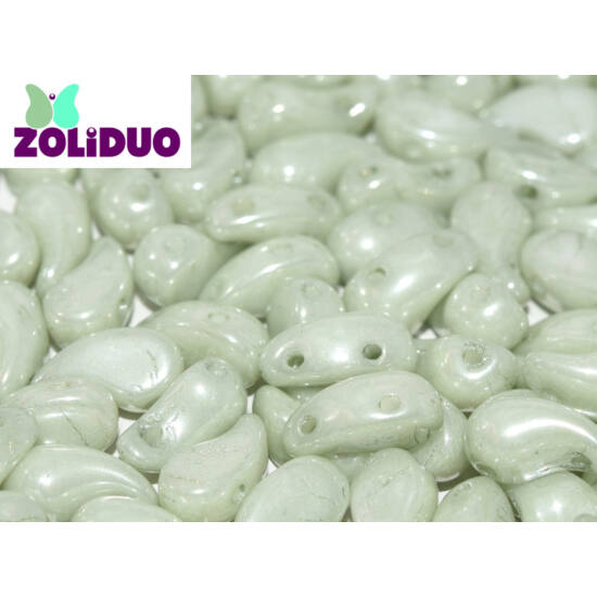 ZOLiDUO- Cseh préselt 2lyukú gyöngy - Alabaster Mint Luster - 5x8mm - BAL