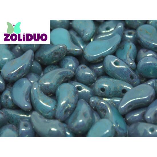 ZOLiDUO- Cseh préselt 2lyukú gyöngy - Jade Teracota Red - 5x8mm - Bal