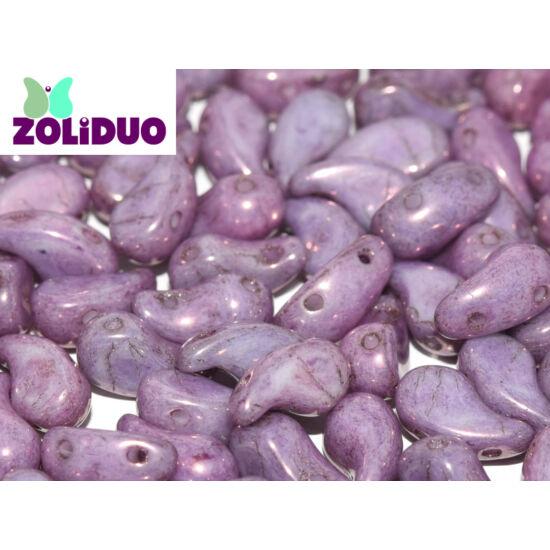 ZOLiDUO- Cseh préselt 2lyukú gyöngy - Alabaster Lila Vega Luster - 5x8mm - JOBBOS