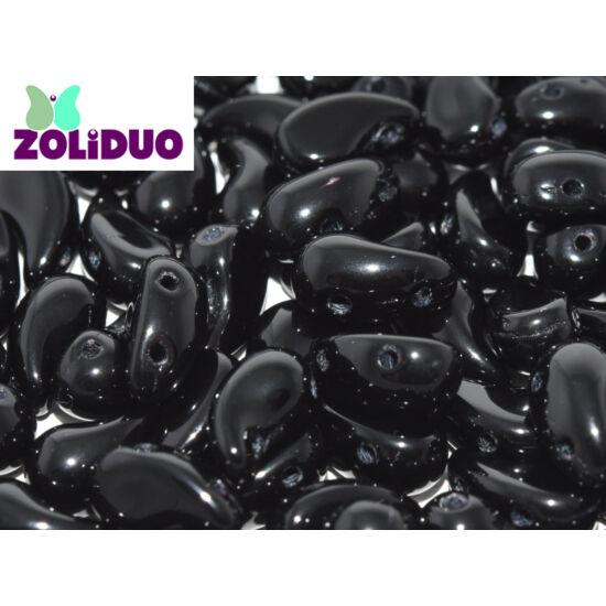 ZOLiDUO- Cseh préselt 2lyukú gyöngy - JET - 5x8mm - JOBBOS - 23980