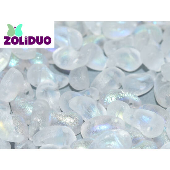 ZOLiDUO- Cseh préselt 2lyukú gyöngy - Crystal Etched AB - 5x8mm - JOBBOS