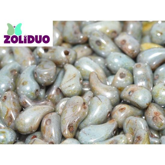 ZOLiDUO- Cseh préselt 2lyukú gyöngy - Alabaster Blue Luster - 5x8mm - JOBBOS