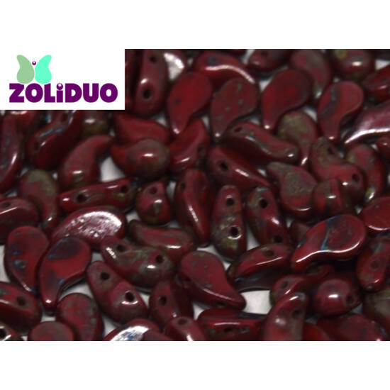ZOLiDUO- Cseh préselt 2lyukú gyöngy - Opaque Red Travertin - 5x8mm - BAL