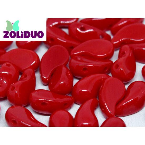 ZOLiDUO- Cseh préselt 2lyukú gyöngy - Opaque Red - 5x8mm - JOBBOS