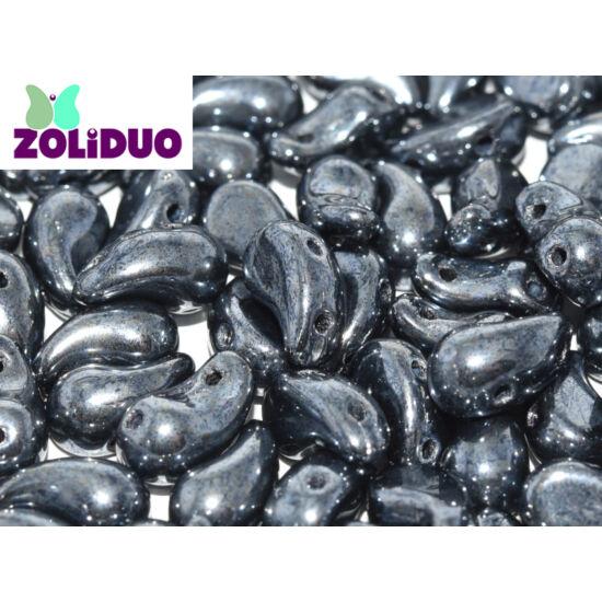 ZOLiDUO- Cseh préselt 2lyukú gyöngy - JET HEMATITE - 5x8mm - BAL -23980/14400