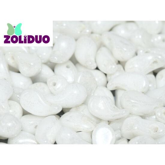 ZOLiDUO- Cseh préselt 2lyukú gyöngy - ALABASTER SHIMMER - 5x8mm - BAL -14400