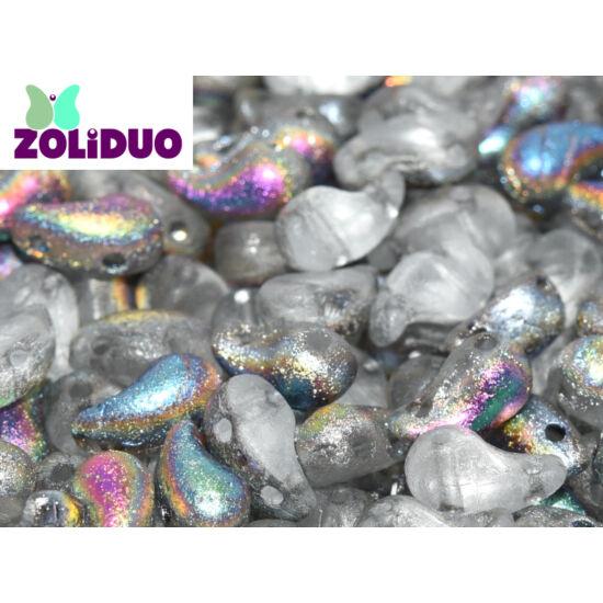 ZOLiDUO- Cseh préselt 2lyukú gyöngy - CRYSTAL ETCHED VITRAIL - 5x8mm - Jobb - 28181