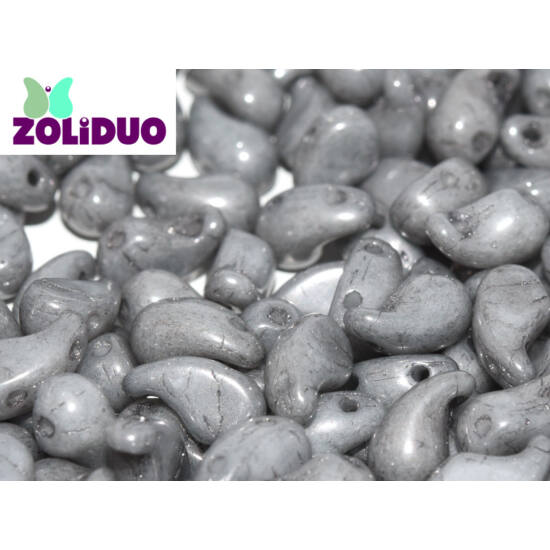ZOLiDUO- Cseh préselt 2lyukú gyöngy -ALABASTER GREY LUSTER  - 5x8mm - JOBBOS