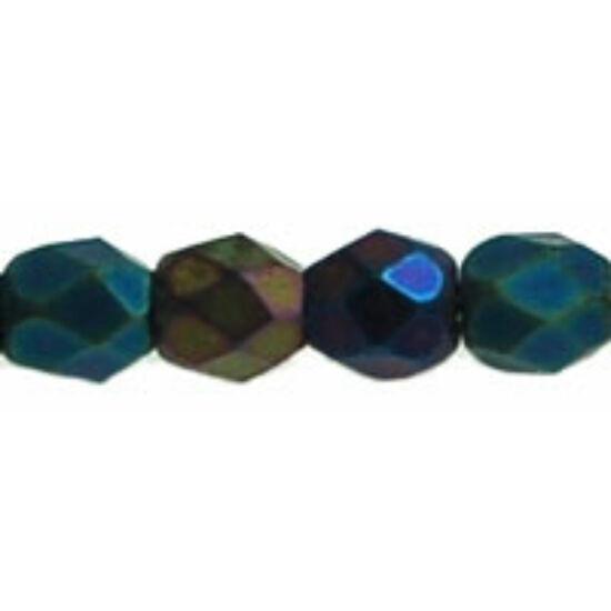 3mm-es Matte - Iris - Green- Cseh csiszolt gyöngy