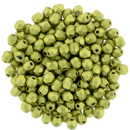 3mm-es Saturated Metallic Primrose Yellow- Cseh csiszolt gyöngy