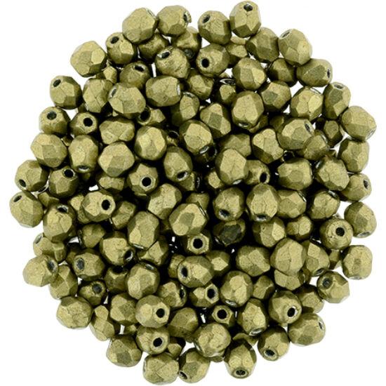 Cseh Csiszolt Gyöngy - 3 mm - ColorTrends: Saturated Metallic Golden Lime - 04B08