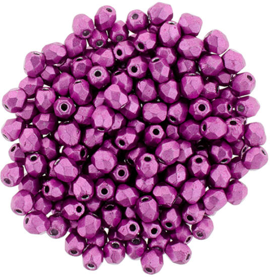 Cseh Csiszolt Gyöngy - 3 mm - Saturated Metallic Pink Yarrow - 77062CR