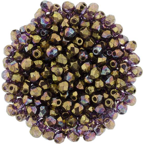 Cseh Csiszolt Gyöngy - 3 mm - Crystal – Bronze Vega - LH00030