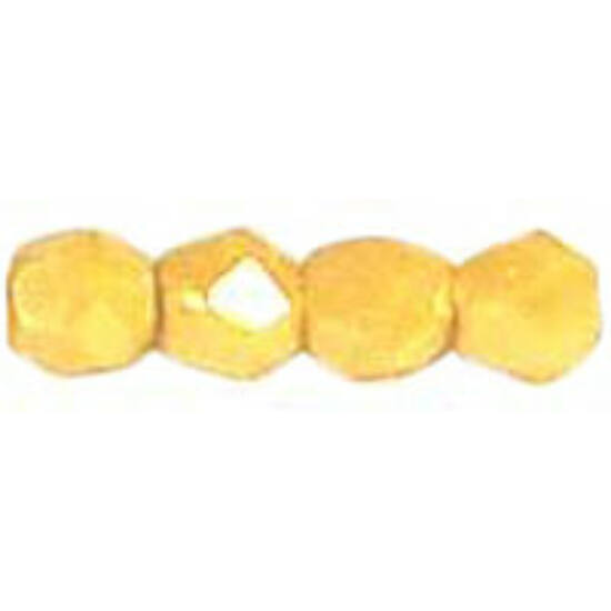 3mm Luster - Opaque Yellow- seh csiszolt gyöngy