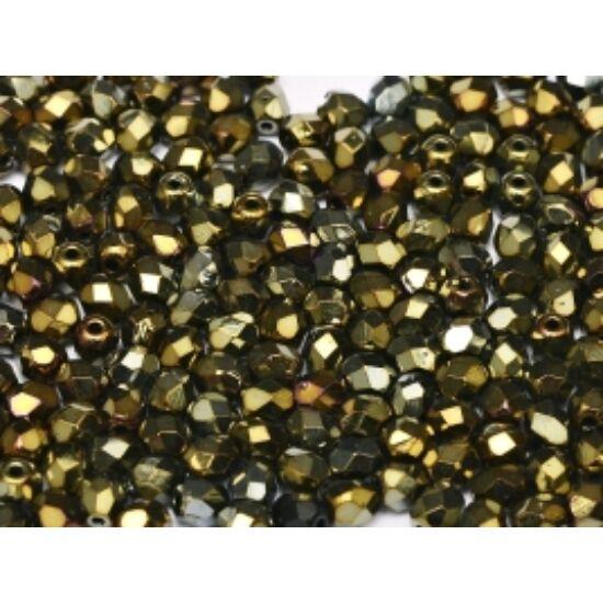 3 mm-es Sötét Irizáló Bronz színű,cseh csiszolt gyöngy