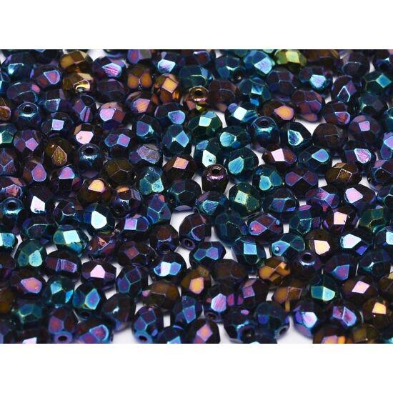 3mm-es JET BLUE IRIS, Cseh csiszolt gyöngy