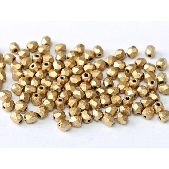 3 mm-es Azték Arany színű,cseh csiszolt gyöngy