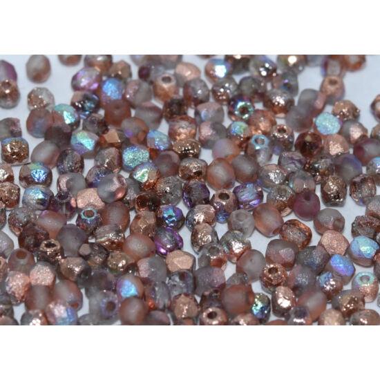Csiszolt gyöngy - 3mm - Crystal Etched Copper Rainbow - 98583