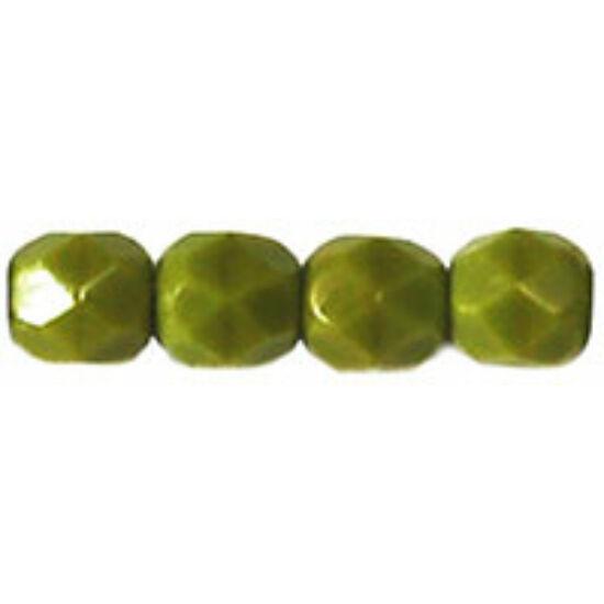 4mm Opaque Olivine színű, cseh csiszolt gyöngy
