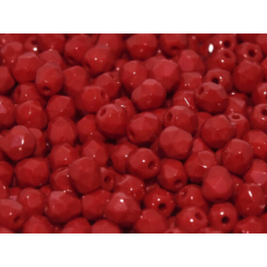 Cseh Csiszolt - 4mm - OPAQUE DARK RED - 93220