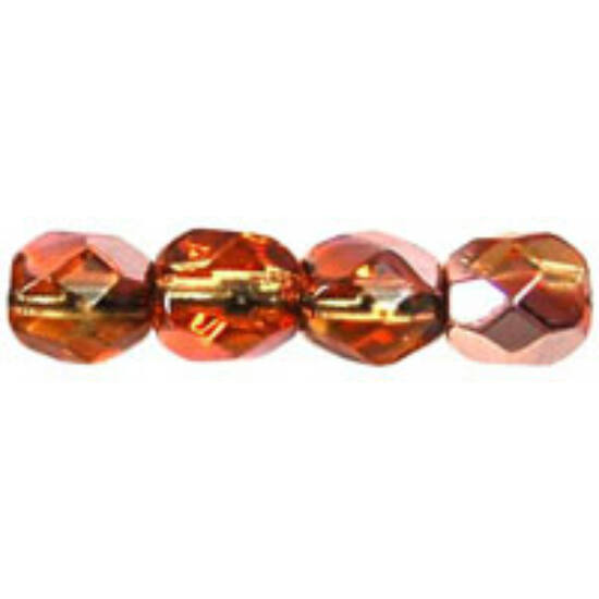 Cseh Csiszolt - 4mm - Copper - Med Topaz - C10040