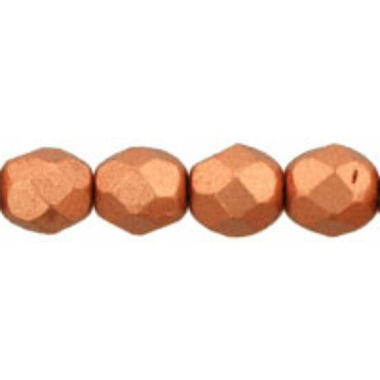 Csiszolt gyöngy - 6mm - Matte - Metallic Copper