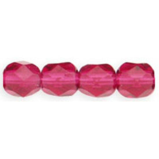 6mm Áttetsző Fuchia színű, Cseh csiszolt gyöngy