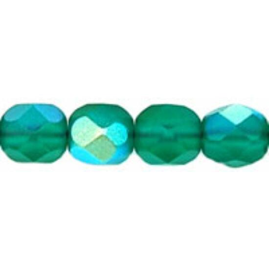 Cseh csiszolt gyöngy- 6 MM- Matte - Emerald AB