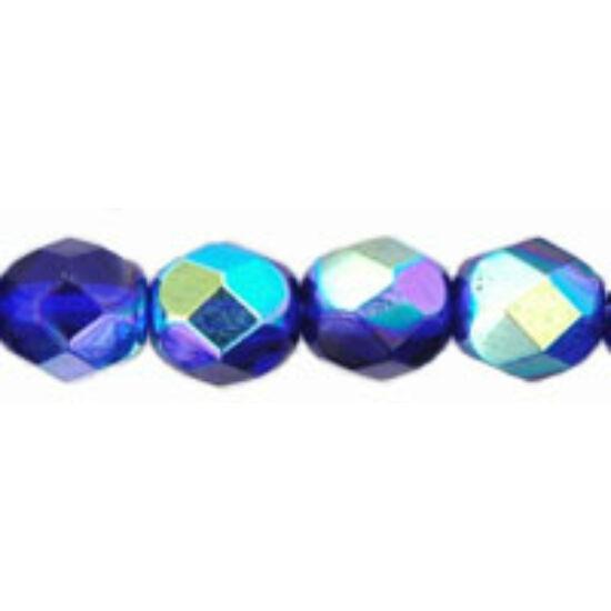 Cseh csiszolt gyöngy- 6 MM- Cobalt AB