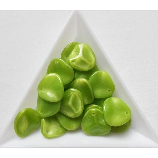 14x13mm Alma zöld, Petal gyöngy