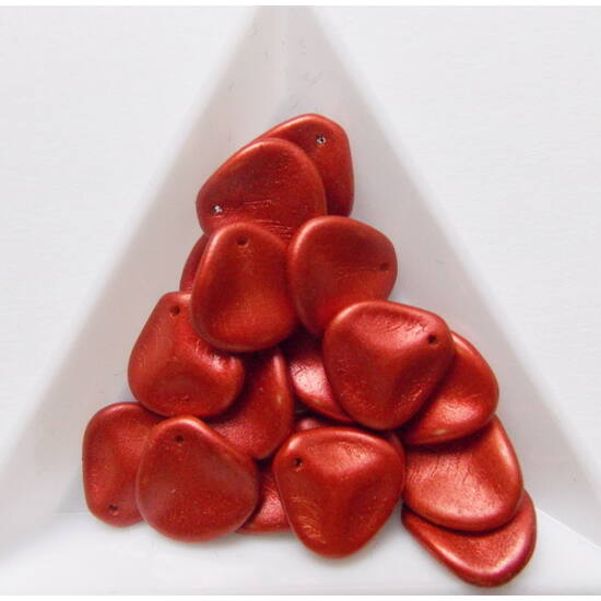 14x13mm Láva Piros, Petal gyöngy