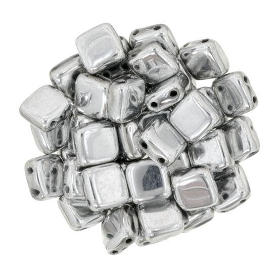 Tile gyöngy, 6x6mm Ezüst