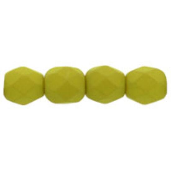 4mm-es Matt Citromfű színű, cseh csiszolt gyöngy
