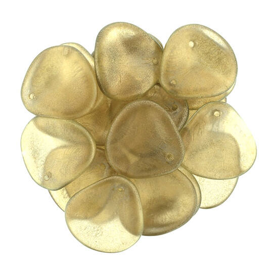 14x13mm Fényes Len színű, Petal gyöngy
