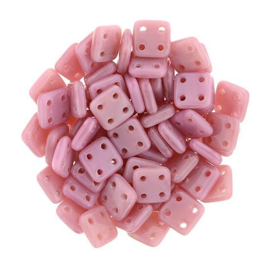 6x6mm Korall Pink színű Quadra Tile gyöngy