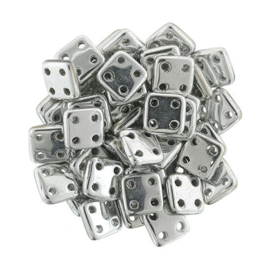 6x6mm Ezüst színű Quadra Tile gyöngy