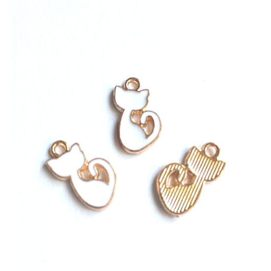 Medál - Cica alakú - arany-fehér színben